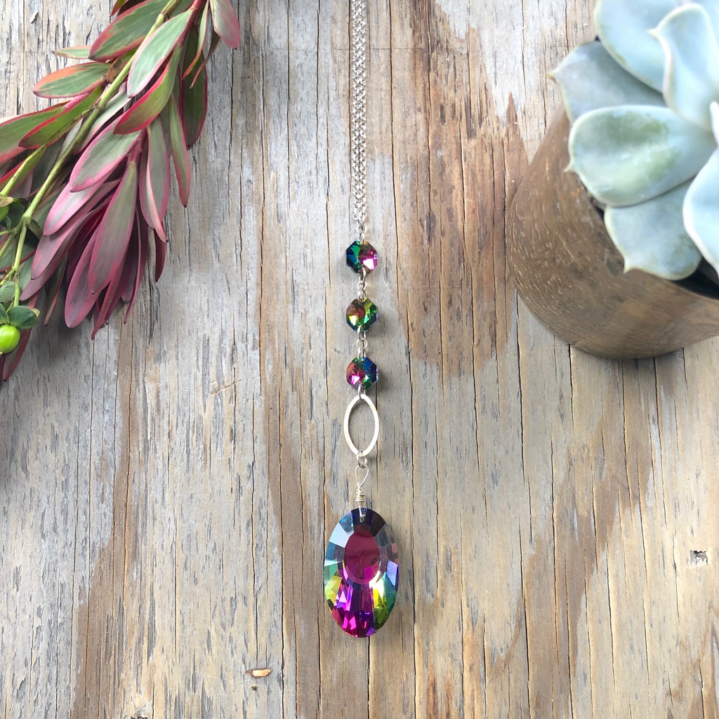 Bright Colored Crystal Long Drop Pendant Necklace_NEW