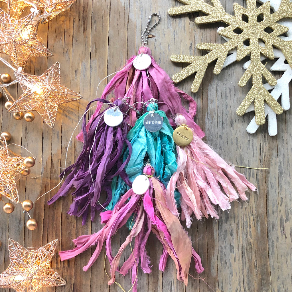 Bright Colored Sari Silk Keychains  NEW