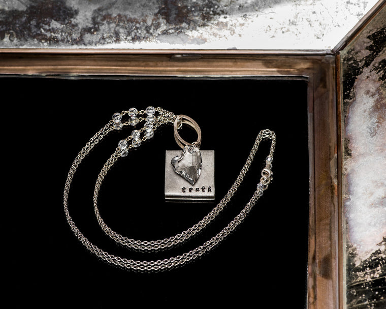 Life Bejeweled Signature Necklace w/Silver Square Blank and Swarovski Crystal Heart Pendant