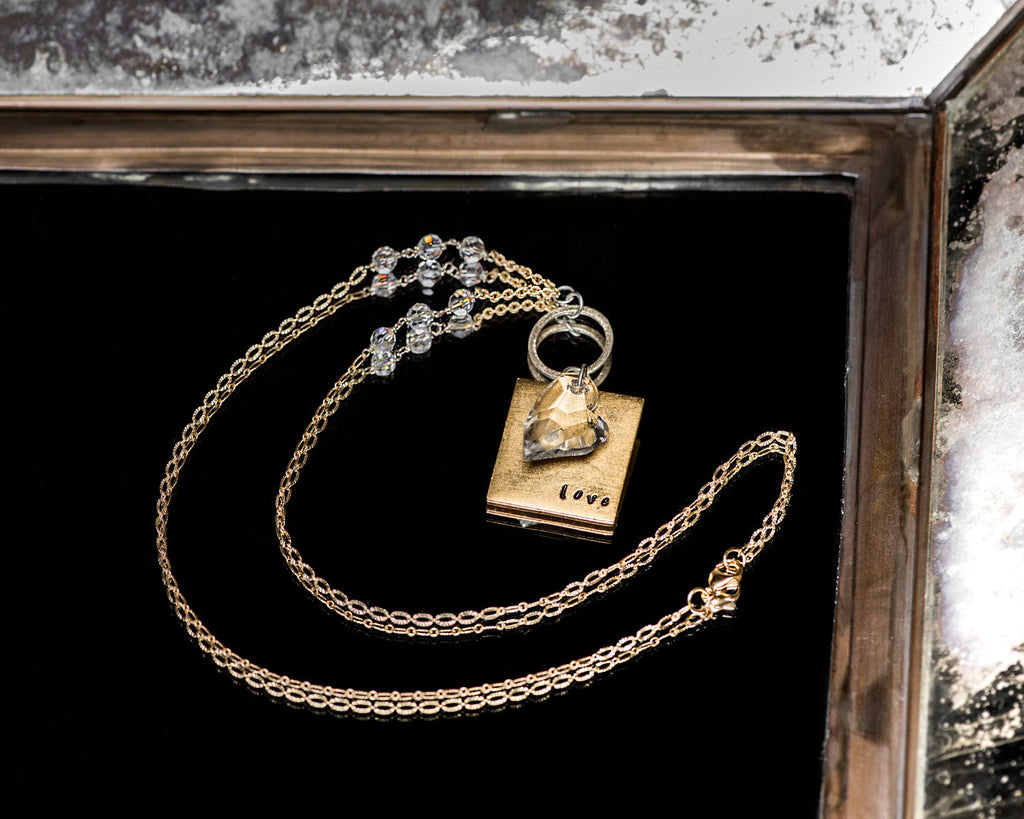 Life Bejeweled Signature Necklace w/Gold Square Blank and Swarovski Crystal Heart Pendant