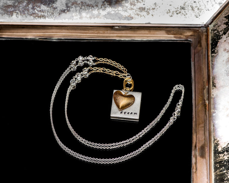 Life Bejeweled Signature Necklace w/Silver Square Blank and Brushed Gold Heart Pendant