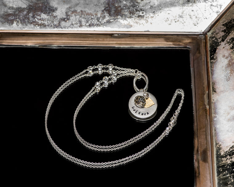 Life Bejeweled Signature Necklace w/Silver Round Blank and Swarovski Crystal and Heart Charms