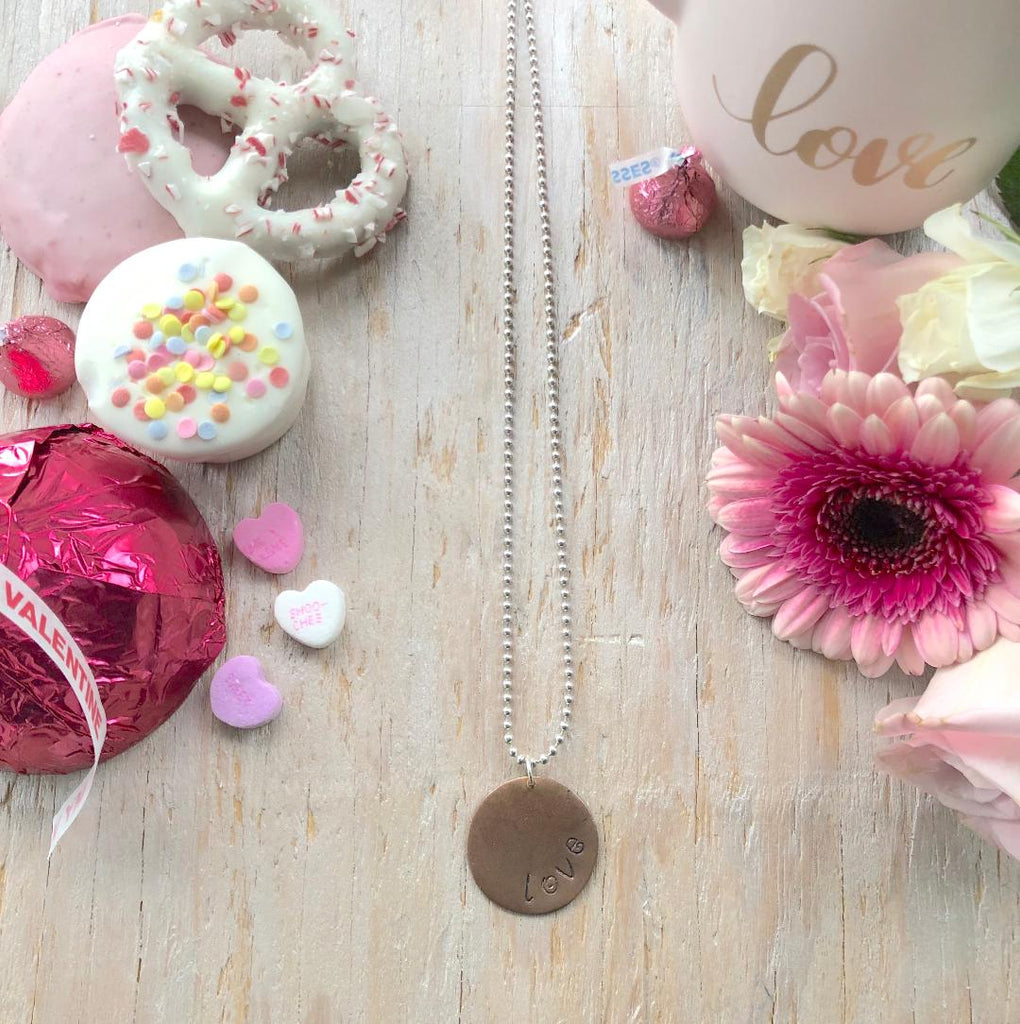LOVE Stamped Round Charm Necklace