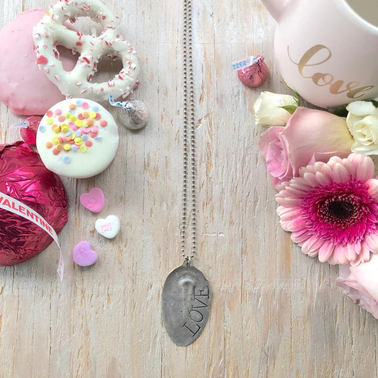 LOVE Stamped Spoon Necklace