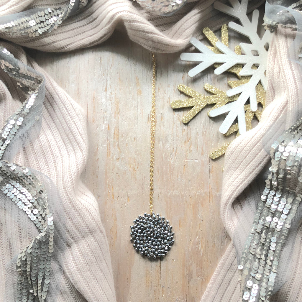 Winter Blush Swarovski Crystal Woven Round Pendant Necklace
