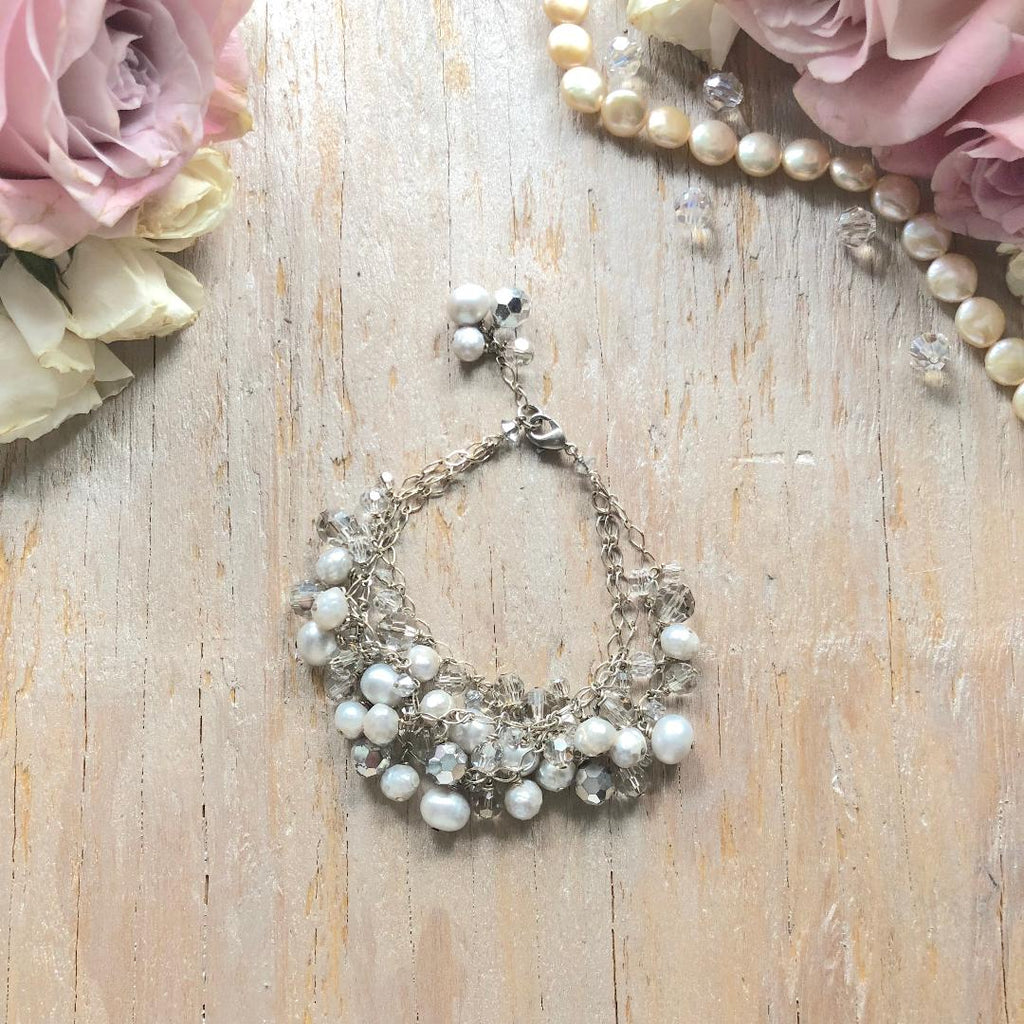 Gray, Cream and Silver Tri-Strand Swarovski Crystal and Pearl Drop Bracelet - Bridal