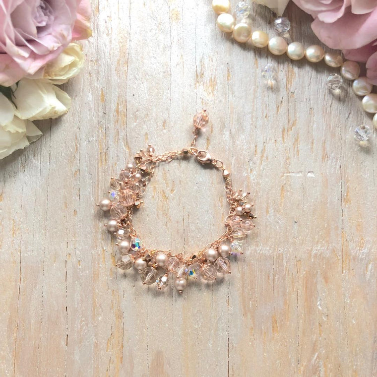 Rose Gold Double Strand Swarovski Crystal and Pearl Multi Drop Bracelet - Bridal