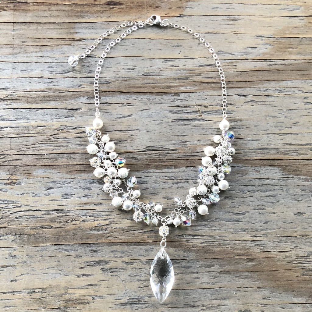 Signature Bridal Wedding Crystal Drop Necklace  NEW
