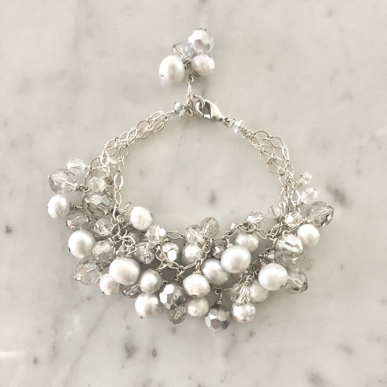 Gray, Cream and Silver Tri-Strand Swarovski Crystal and Pearl Drop Bracelet  NEW