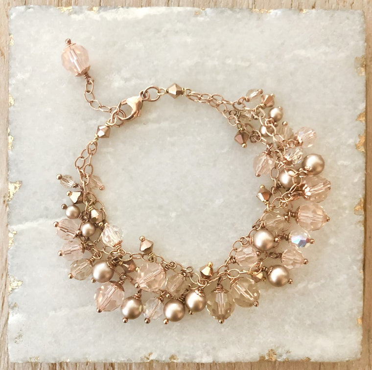 Rose Gold Double Strand Swarovski Crystal and Pearl Multi Drop Bracelet NEW