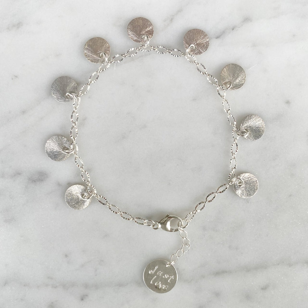 Brushed Silver Etched Discs On Etched Oval Sterling Silver Chain Bracelet  NEW