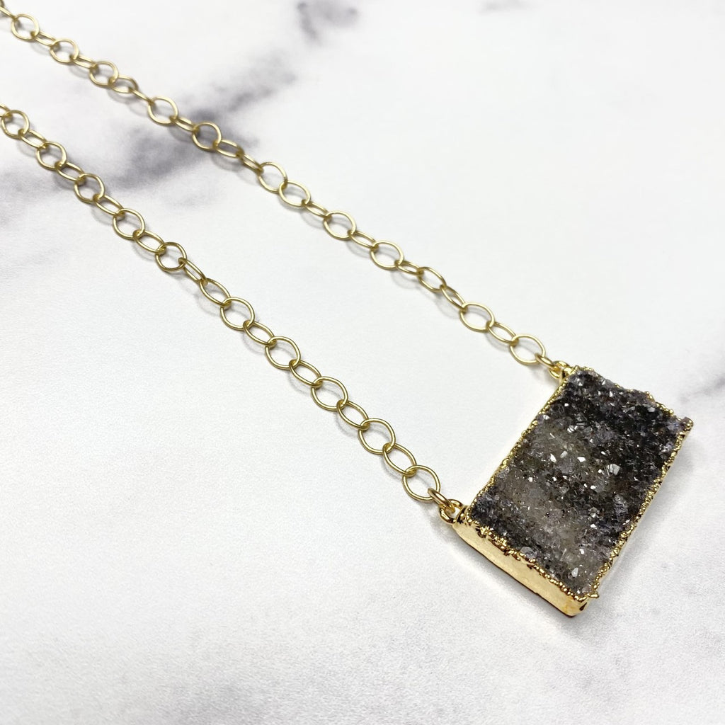 Charcoal Druzy Bar Pendant on Gold Filled PaperClip Chain Necklace  NEW
