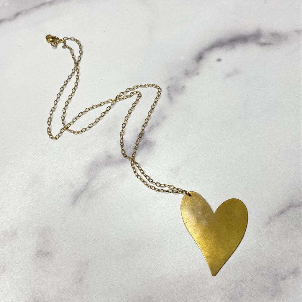 Gold Filled Hanging Heart Pendant Necklace    NEW
