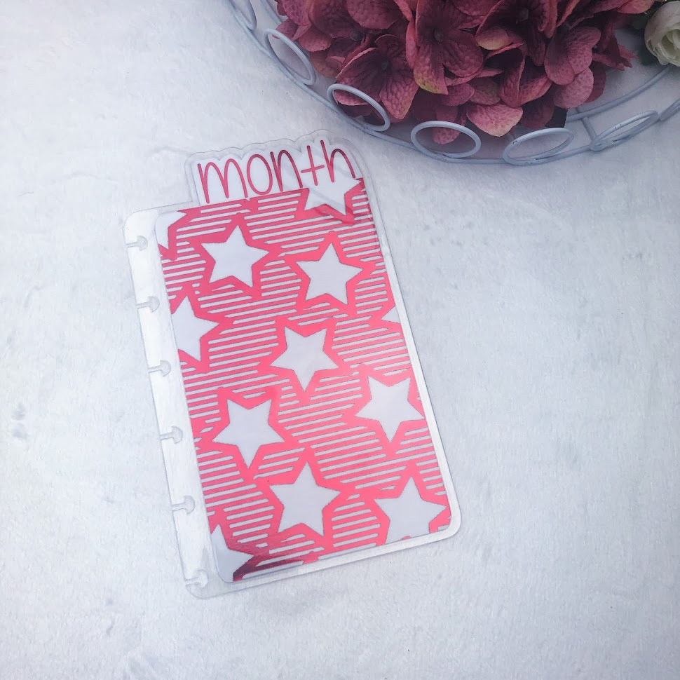 Happy Planner Mini Red Stars & Stripes Month Tab - Ready to Ship
