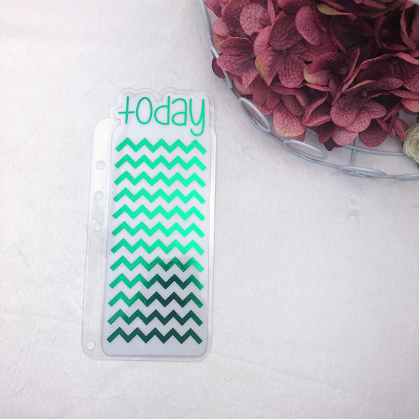 A5 Rings Green Chevron Today Tab - Ready to Ship