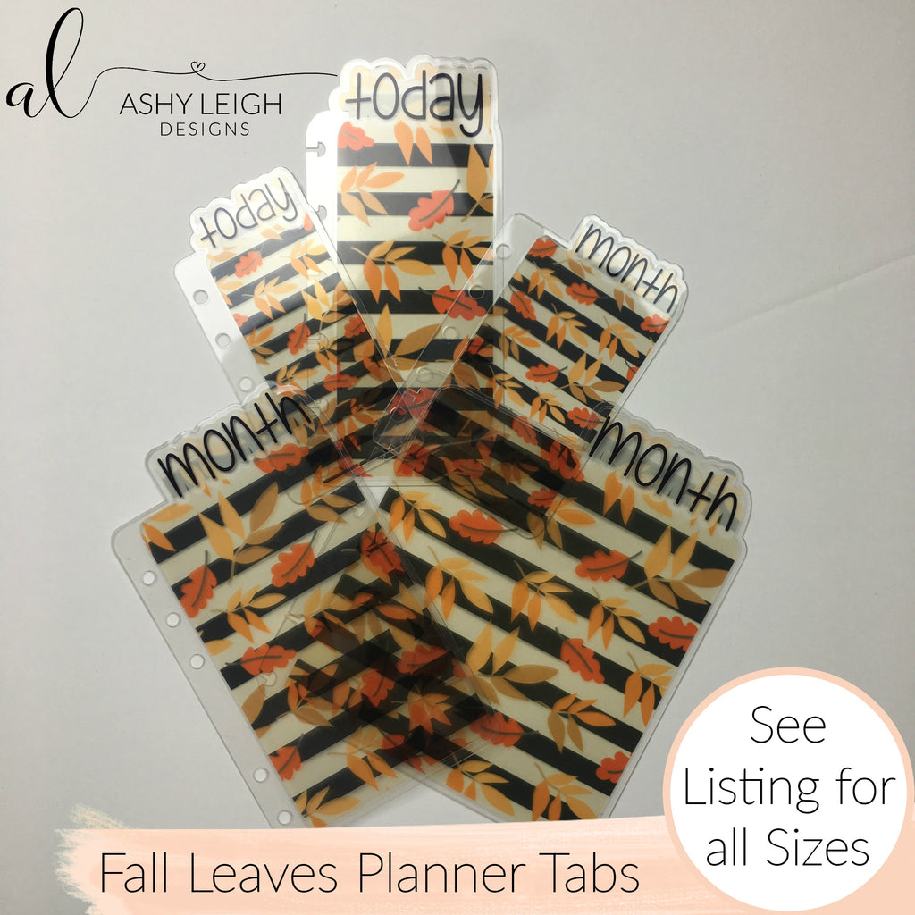 MTO A5 Wide Rings Fall Leaves Planner Tabs