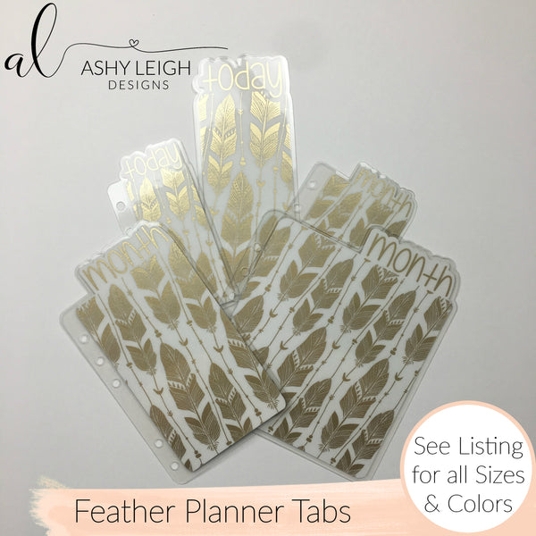 MTO A5 Rings Feathers Planner Tabs