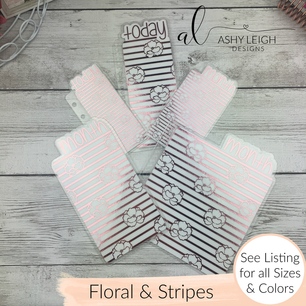 MTO B6 TN Floral Stripes Planner Tabs