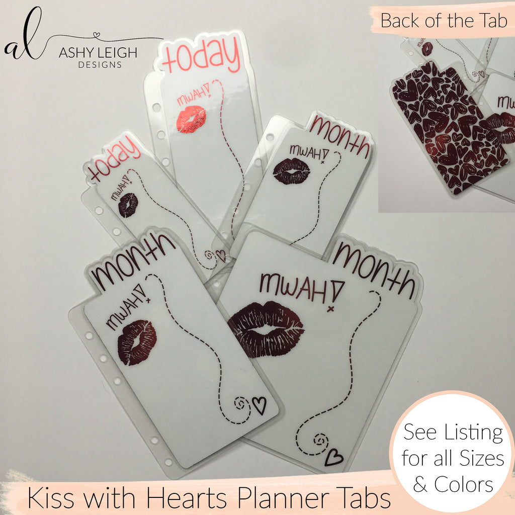 MTO Spiral Bound Kiss with Hearts Planner Tabs