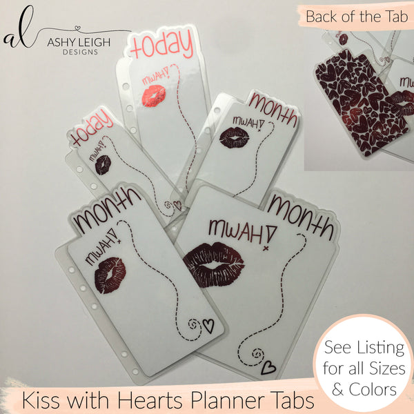 MTO B6 Spiral Bound Kiss with Hearts Planner Tabs