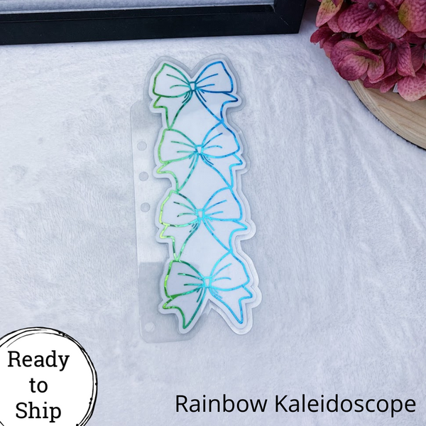 A5 Rings Blue/Green Kaleidoscope Stacked Bow Planner Tab - Ready to Ship