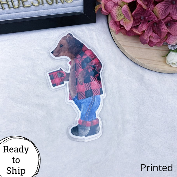Pocket TN Plaid Bear Planner Tab - Ready to Ship
