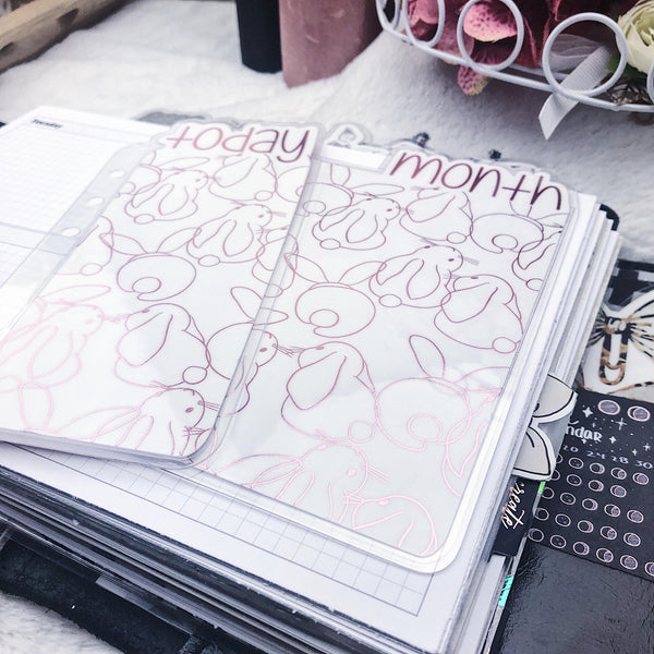 MTO A5 Wide Rings Bunnies Planner Tabs