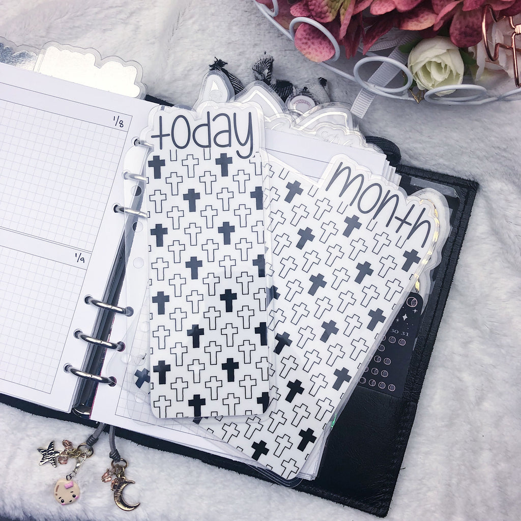MTO A5 Wide Rings Crosses Planner Tabs