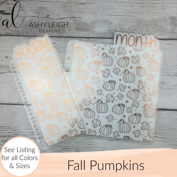 MTO Personal Wide Rings Fall Pumpkins Planner Tabs