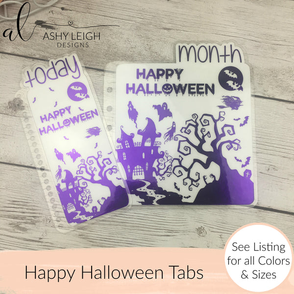MTO Personal Wide Rings Happy Halloween Planner Tabs
