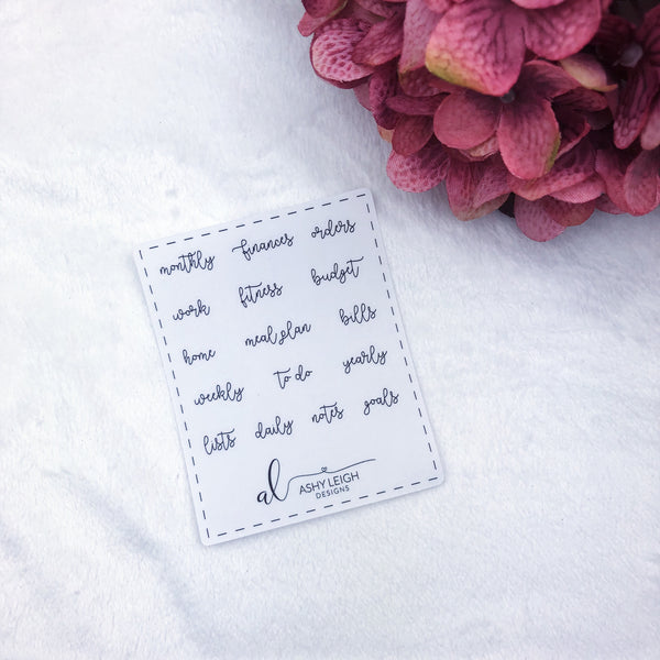 Clear Mini Heading Stickers - Cursive - Ready to Ship
