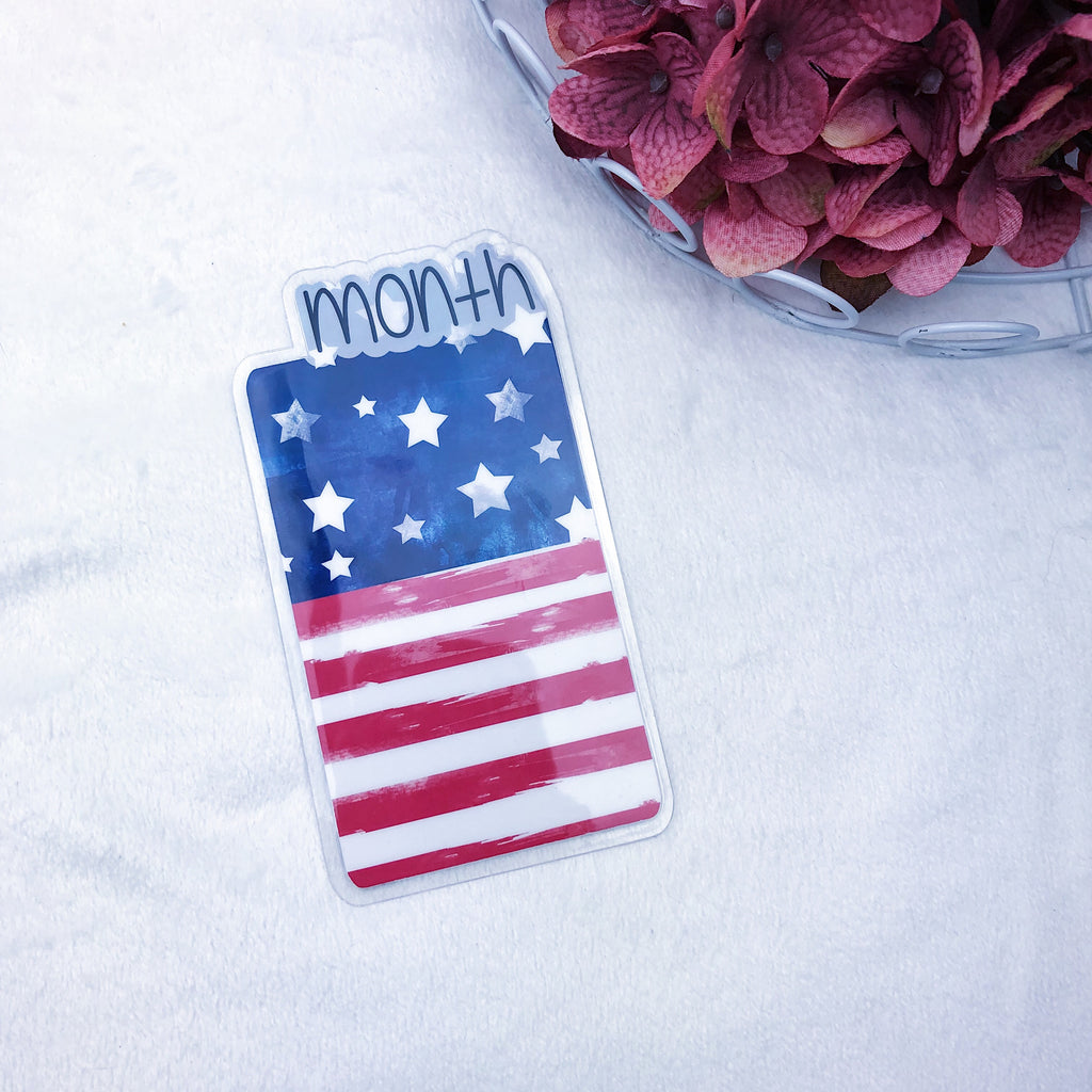 Micro/A7 TN Printed American Flag Month Tab - Ready to Ship