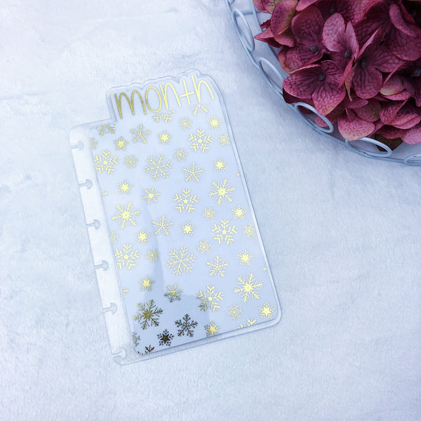 Happy Planner Mini Gold Snowflakes Month Tab - Ready to Ship