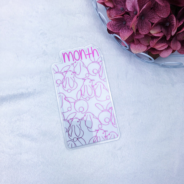 Micro/A7 TN Hot Pink Bunnies Month Tab - Ready to Ship