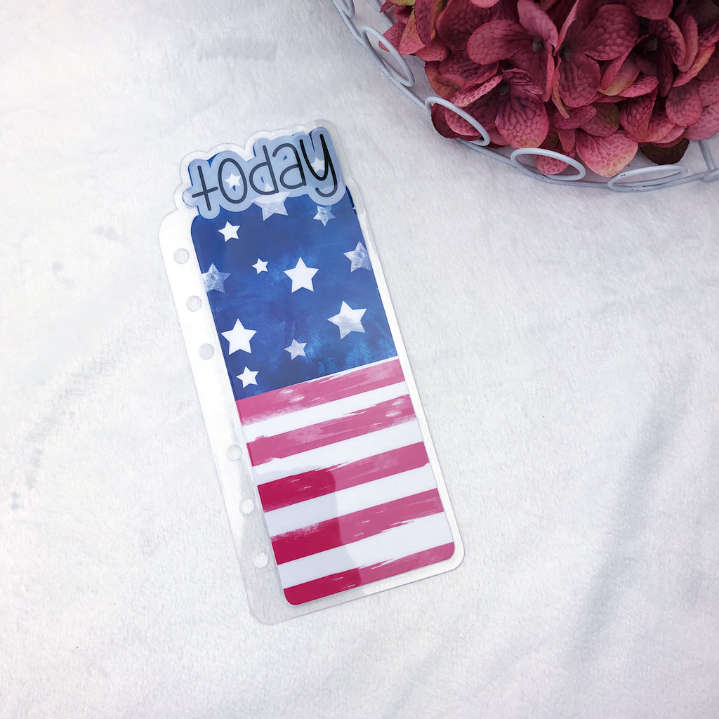 A6 Rings Printed American Flag Today Tab - Ready to Ship