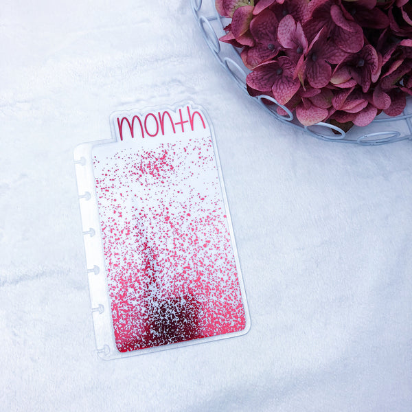 Happy Planner Mini Red Splatter Month Tab - Ready to Ship