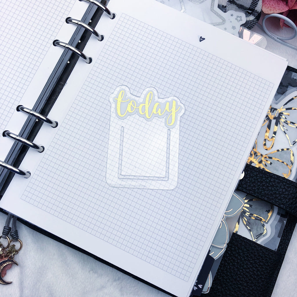 Gold Glitter Foiled Today Planner Clip - Ready to Ship