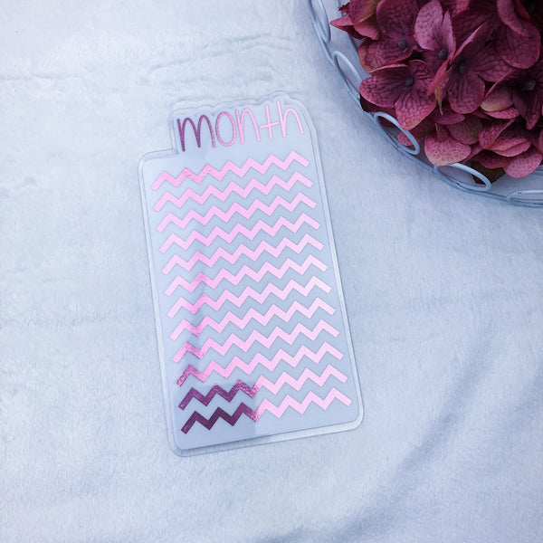 Pocket TN Light Pink Chevron Month Tab - Ready to Ship
