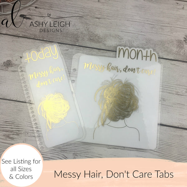 MTO Fauxbonichi Happy Planner Messy Hair, Don't Care Planner Tabs