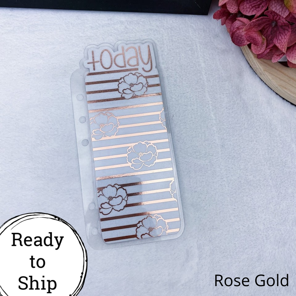 Personal Rings Rose Gold Floral Stripes Today Tab - Ready to Ship
