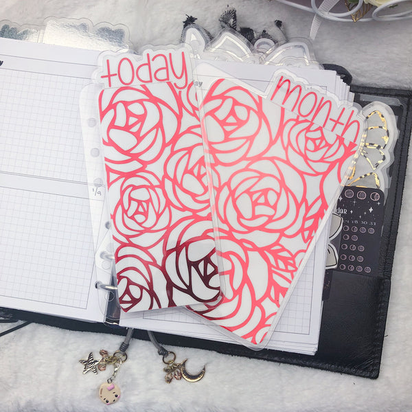 MTO A5 Wide Rings Roses Planner Tabs