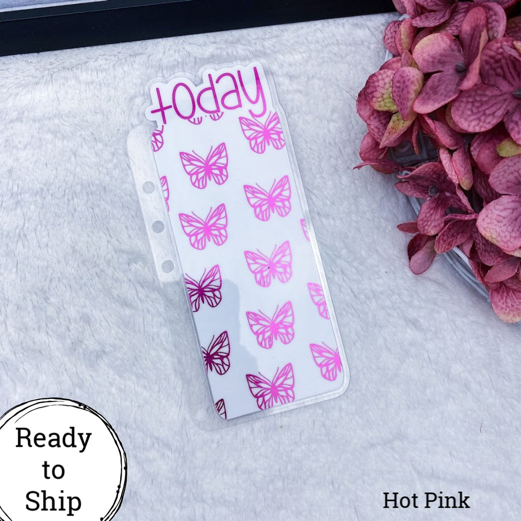 A5 Rings Hot Pink Butterflies Today Tab - Ready to Ship