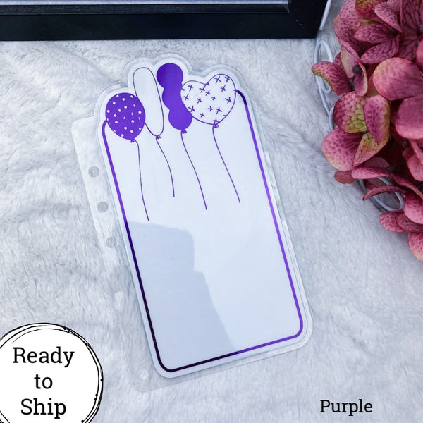 A5 Rings Purple Center Balloons Planner Tab - Ready to Ship