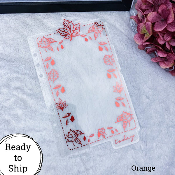A5 Rings Orange Fall Leaves Dashboard Tab - Ready to Ship