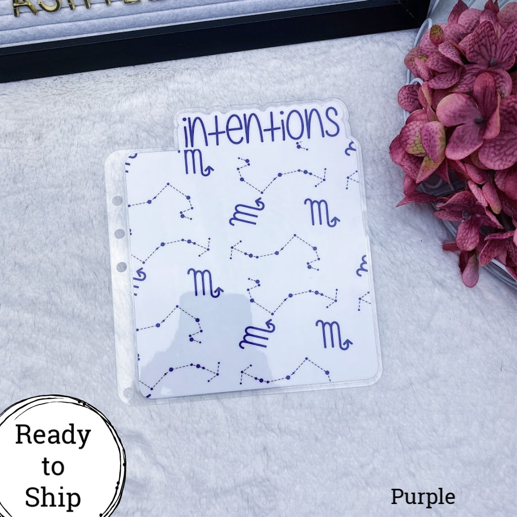 A5 Rings Purple Scorpio Zodiac Intentions Tab - Ready to Ship