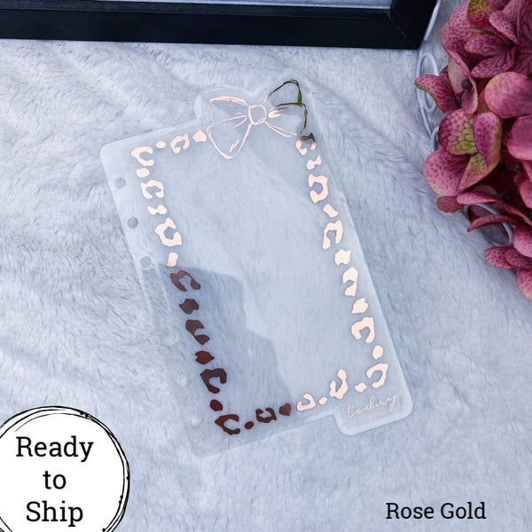 A6 Rings Rose Gold Leopard Print Today (Extra from Set) Bow Dashboard - Ready to Ship