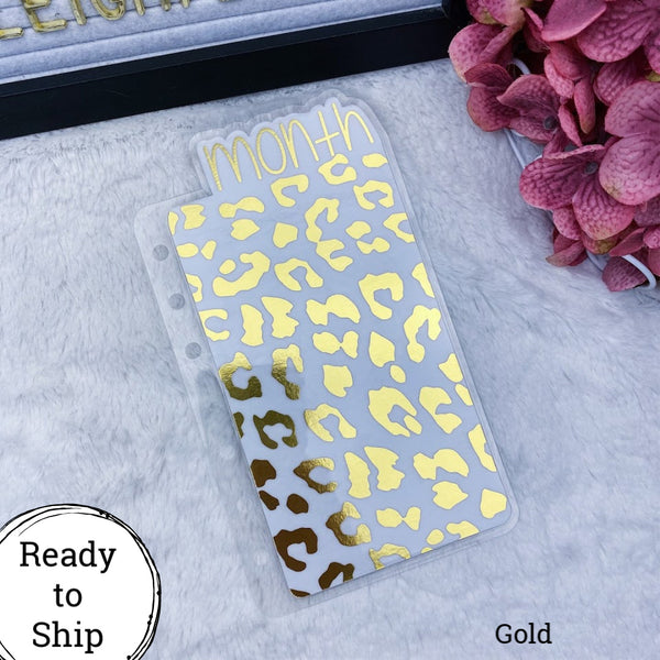 A6 Rings Gold Leopard Print Month Tab - Ready to Ship