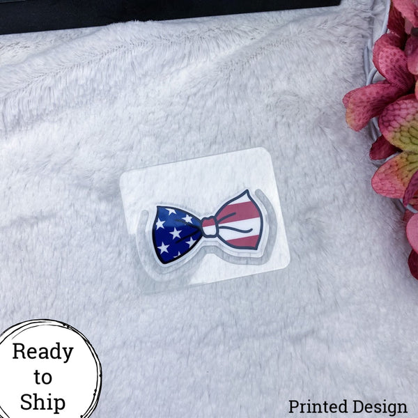 American Flag Dangle Tab Bow Clip Style Planner Tabs - Ready to Ship