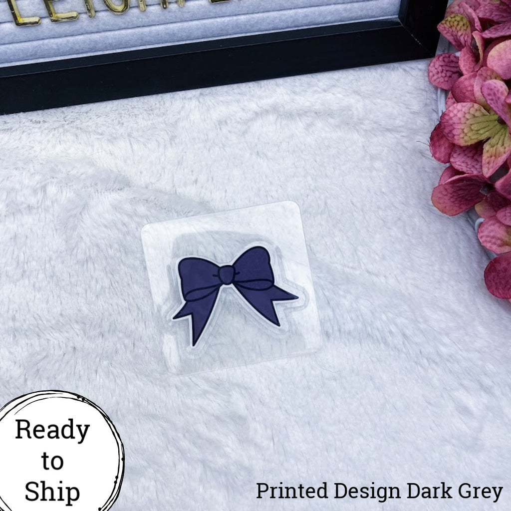 Dark Grey Dangle Bow Planner Clip - Ready to Ship