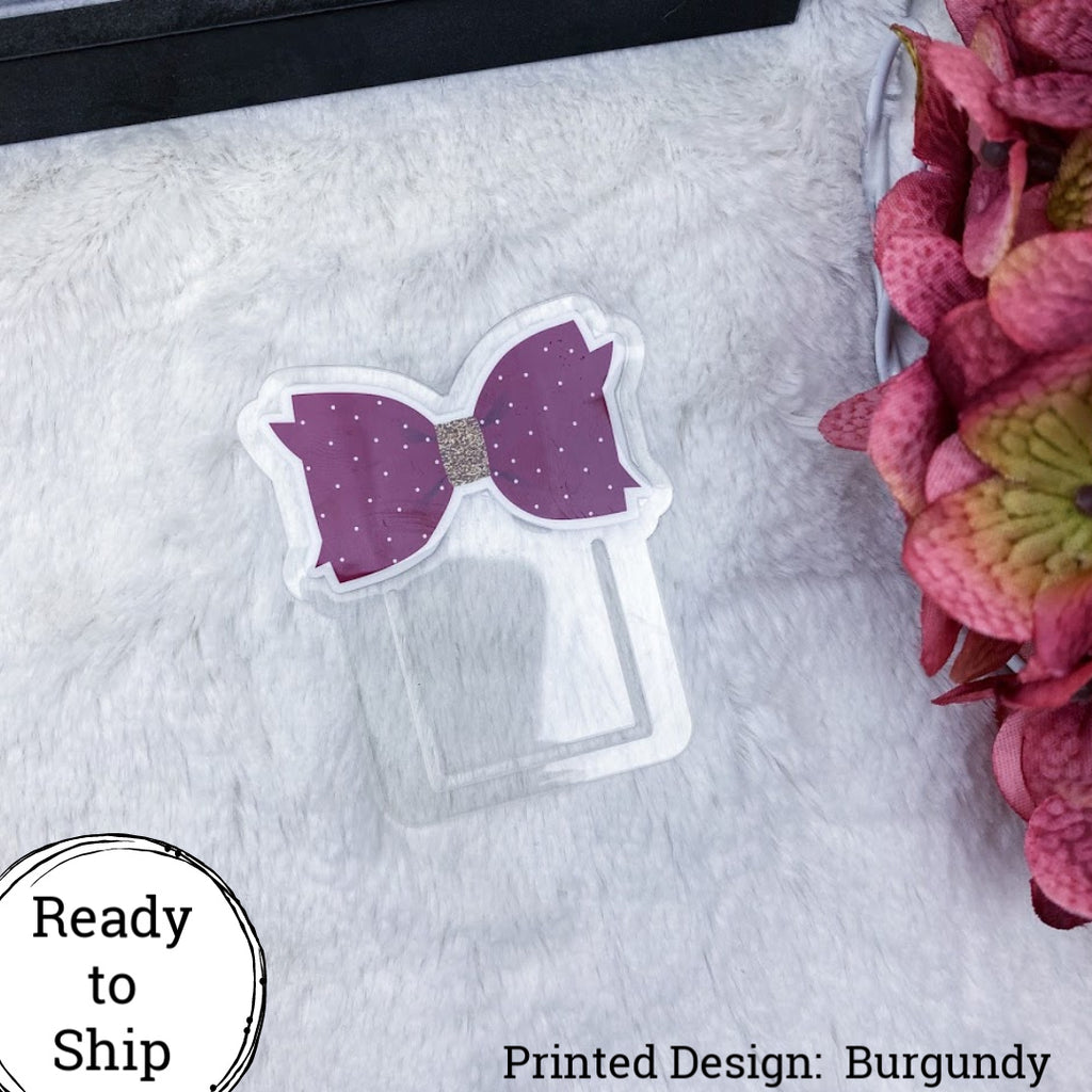 Burgundy Bow Planner Clip - Ready to Ship